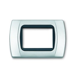 PLACCA Multiplac in Abs compatibile per serie Living Light, International 3 moduli colore Cromo opaco