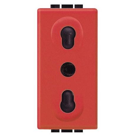 living int - presa bipasso 2P+T rossa BTICINO L4180R