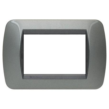 living int - placca 3 posti acciaio scuro BTICINO L4803AC