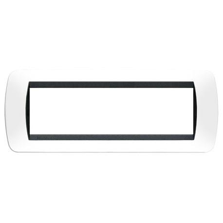 living int.- placca 7P plastica bianco s. BTICINO L4807PB