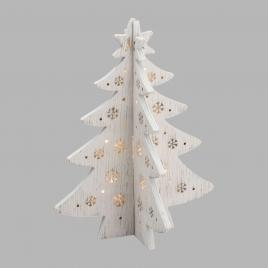 Albero Natale Smontabile Legno Vintage Bianco 12 LED BIANCO CALDO con Base Luce Fissa a Batteria Interno H28xø21cm